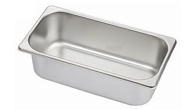 6 x Third Size 1/3 100mm Bain Marie Gastronorm GN Pan Tray Stainless Steel