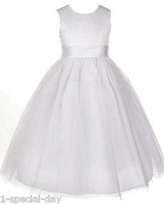 Bethany White Satin And Tulle Flower Girl Dress With Button Back