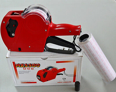 MX-5500 EOS 8 Digits Price Tag Gun + 400 White w/ Red lines sticker labels + Ink