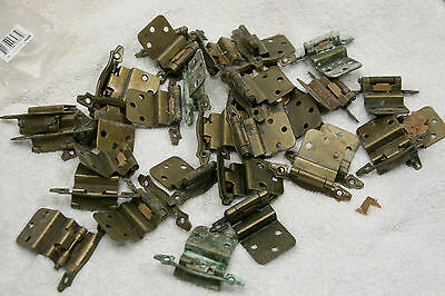 vintage lot of brass hinges for cabinet doors Ornate With Patina