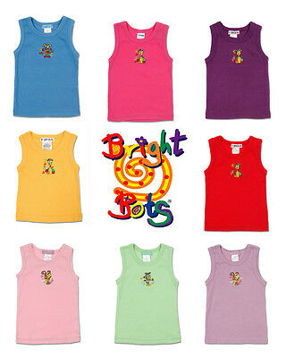 Bright Bots Singlet Vest tank Boy Girl Winter Summer 100% cotton sz 0, 1, 2 new