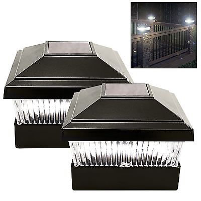 2 x Black Solar Powered Led Garden Post Deck Cap Square Outdoor Fence Lights