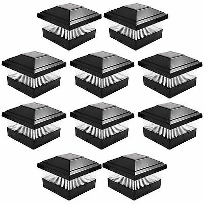 10 x Black Solar Powered Led Garden Post Deck Cap Square Outdoor Fence Lights
