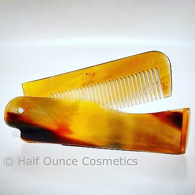 Hand Carved Ox Horn Folding Moustache & Beard Comb by Revered Beard. Anti Static