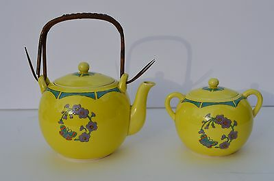 Beautiful Vintage Japanese Porcelain Teapot & Sugar Art Deco Style