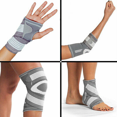 Compression Sleeve Support Elastic Bandage Straps Brace - Wrist Elbow Ankle Knee