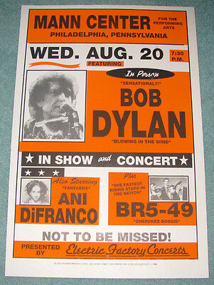 BOB DYLAN * ANI DiFRANCO * BR5-49 - ORIGINAL 1996 Boxing Style Concert Poster