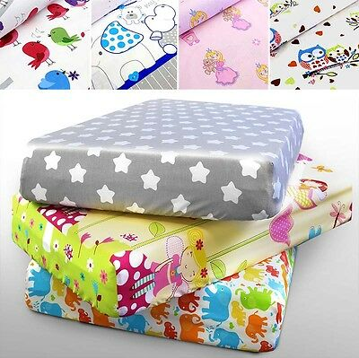 BABY COT SHEET COTBED PRINTED 100% COTTON  160x70 140x70 120x60 90x40 FITTED NUR