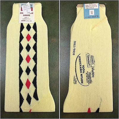 True Vintage 50s JCPenney's Towncraft Stretchable Nylon Yellow Dress Socks RARE