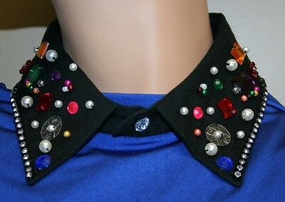Women Fashion Elegant Collar, Black Collar with milti-color stones