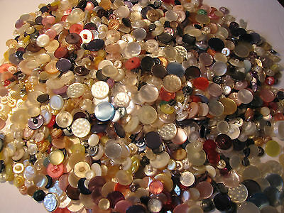Vintage Mother Of Pearl Finish Shank Buttons, Diff. Colours, Sizes, Styles 2Lbs.