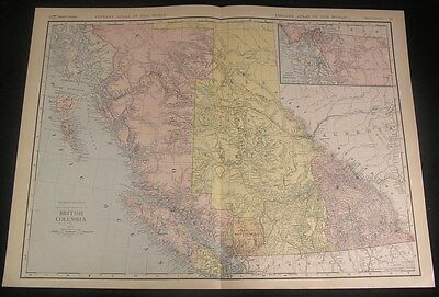 British Columbia Canada 1912 huge detailed antique color map