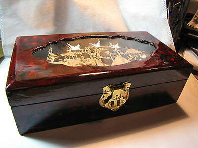 Chinese Jewelry Box,handmade Motif Under Glass On Lid, Red Wood,gold Tone Old