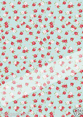 EDIBLE ICING Rice Paper Cake Topper DECORATIVE Shabby Chic Small Red Roses Sheet