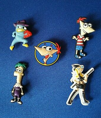 New 5 Pc Phineas & Ferb Jibbitz Shoe Charms Cake Toppers Party Favors Decoration