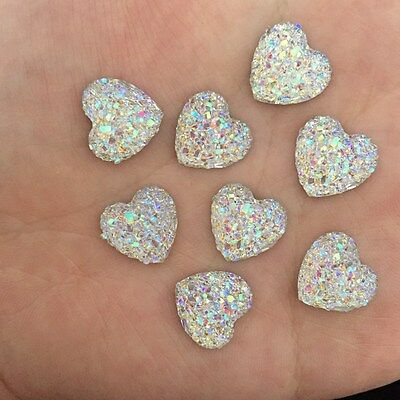 40PCS 12mm AB Resin Bling heart stone flatback Scrapbooking phone Wedding D504