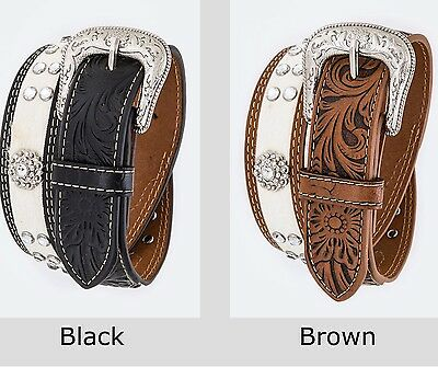 XS Kids Western Leather Belt fits 20-28 Waist - Crystals & Round Berry Conchos