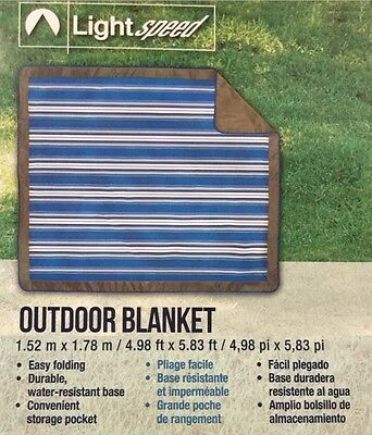 """Lightspeed Outdoor Blanket - Water Resistant Base 60"""" x 70"""" Picnic Camping Beach"""