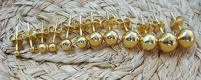 REAL 925 sterling silver Ball 18k GOLD plated studs earrings 2mm to 7mm  unisex