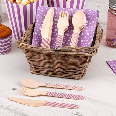 Purple Wooden Carnival Cutlery Set Tableware Birthday Party Baby Shower Boy Girl