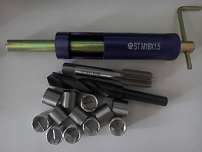 M18 x 1.5 Thread Repair Kit Tap and Drill bit Helicoil Insert tool Free Shipping