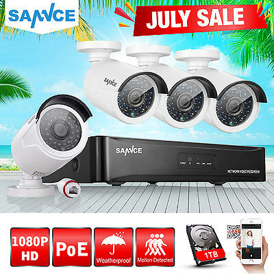 SANNCE 4CH 1080P HD 2.0MP NVR POE Security IP Camera System Network Outdoor 1TB