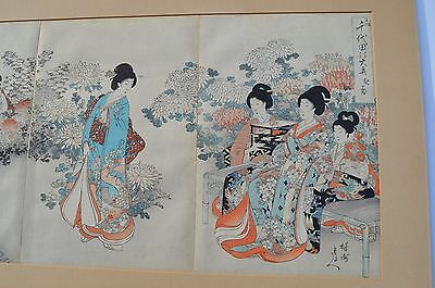 Fine Japanese Triptych Woodblock Print Nymphs Celebrating Chrysanthemum Festival