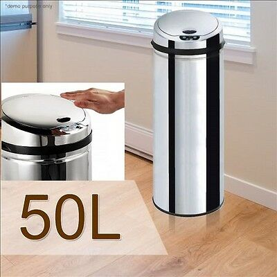 50L Hands Free Touchless Automatic Motion Sensor Garbage Rubbish Waste Trash Bin