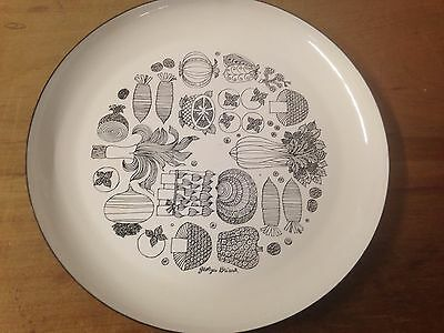 Georges Briard Black and White Enamel Small Serving Plate with Vegetable Motif