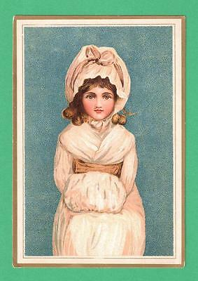 Vintage Victorian Greeting Card Beautiful Girl Bonnet Ermine Muff