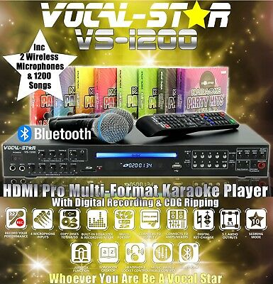 Vocal-Star Vs-1200 Pro Hdmi Karaoke Machine 2 Vhf Wireless Mics & 1200 Songs