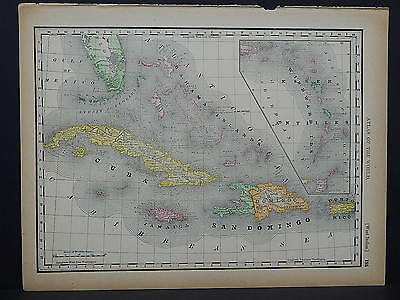 Antique Map 1894, M4#55 Map of West Indies OR South America Double Sided