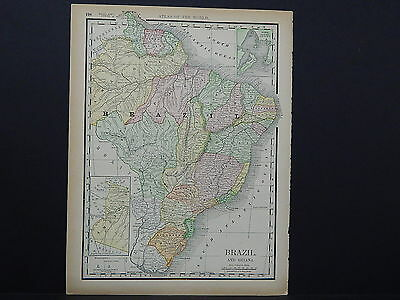 Antique Map 1894, M4#57 Map of Brazil OR Northwestern South America Double Sided