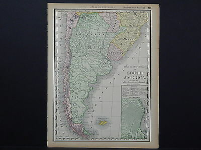 Antique Map 1894, M4#60 Southern Portion of South America, Single Sided