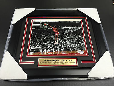 Dominique Wilkins AUTOGRAPHED SIGNED DUNK PSA 8X10 FRAMED AUTHENTIC SIGNATURE