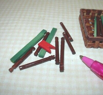 Miniature Shelf Basket of Loose Log Cabin Parts: DOLLHOUSE Toy 1/12