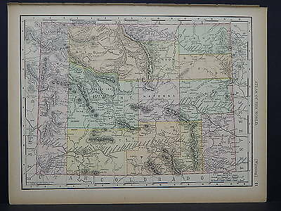 Antique Map 1894, Double Sided M4#76 Wyoming or South Dakota
