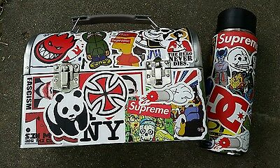 New Retro Dome Metal Lunch Box Sticker Bomb and Canteen Supreme DC Spitfire