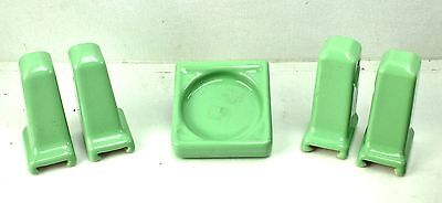 Green vintage Porcelain Bathroom Fixture Lot Cup Towel Toilet Paper Holder