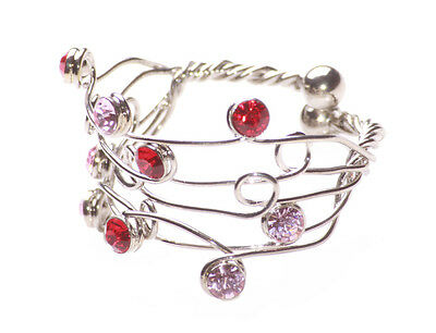 Princess Ruby Red & Pink Blush Gem One Size Fits All Wire Chrome Ring (Zx76)