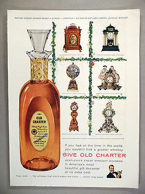 Old Charter Whiskey PRINT AD - 1955 ~~ gift decanter, antique clock collection