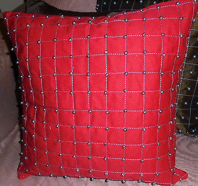 16 Square Pillow Cover Red W 6mm Silver Pewter Beads