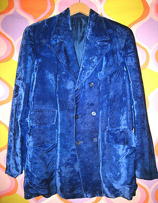 60s Mod Lounge Rat Pack 6 Button Double Breasted Royal Blue Velvet Blazer Jacket
