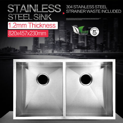 820 x 457 x 230 mm Drop In / Undermount Stainless Steel Kitchen Sink Double Bowl
