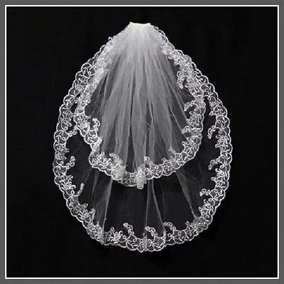 Hot New White Ivory 2 Layers Wedding Bridal Veils Lace Edge With Comb
