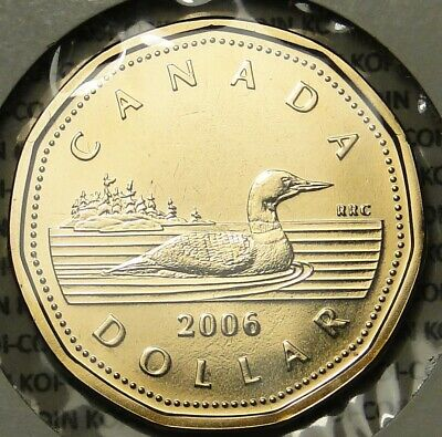 BU UNC PL Canada 2006 proof like loonie no logo $1 dollar coin