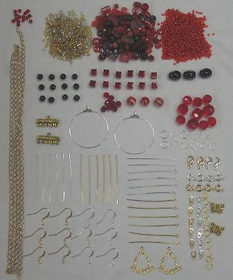 New Red Bead Kit with Silver & Gold Tone Findings & Free Beading Instructions
