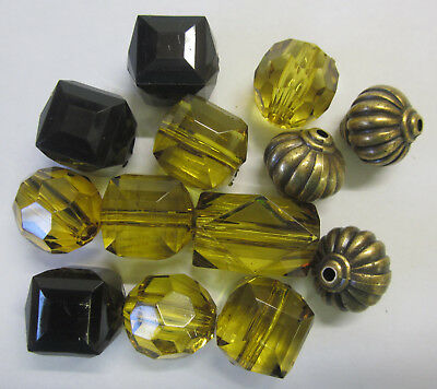 13 Acrylic Beads & Faux Bail Mix Faceted Beads & Bails In Olive & Gold TAR025