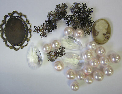 Cameo & Pearl Bead Mix Pink 39 Pieces Glass Pearls, Acrylic Drops, Caps TAR014