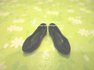 Doll shoes ~ Barbie Fashion Glam Luxe Black Flat bottom shoes 1pair #S1621
